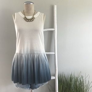 Altar'd State Tops - Altar'd State | White & Blue Ombre Peplum Tank Top